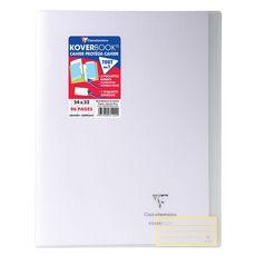 CLAIREFONTAINE Cahier piqué polypro Koverbook 24x32 cm 96 pages grands carreaux Seyes blanc transparent