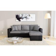 Canapé d'angle 3 places réversible et convertible MATHILDE coloris gris et noir