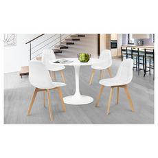 Lot de 4 chaises assise PU pieds bois massif CARLA (Blanc)