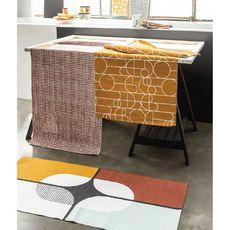 TODAY Tapis déco rectangle en polycoton imprimé quadrillage 60x170 cm TERRA ROSA