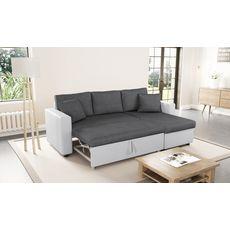 Canapé d'angle 3 places réversible et convertible MATHILDE coloris Gris / Blanc (gris/blanc)