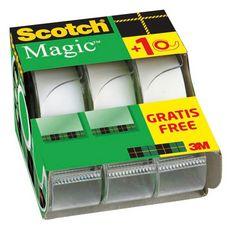 lot de 2 dévidoirs + 1 gratuit ruban adhésif scotch® invisible 7,5m x 19mm