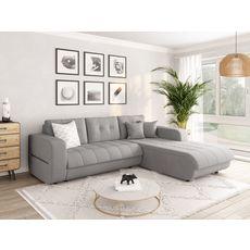 Canapé d'angle droit convertible CLELIA, 4 places, tissu gris