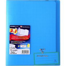 CLAIREFONTAINE Cahier piqué polypro KoverBook 17x22cm 96 pages petits carreaux 5x5 bleu clair