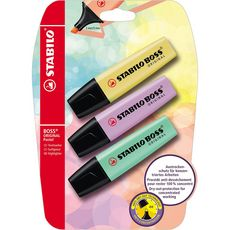STABILO 3 surligneurs STABILO BOSS ORIGINAL Pastel jaune + lilas + menthe