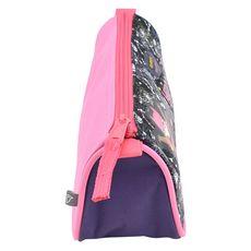 AUCHAN Trousse scolaire triangulaire polyester violet, rose et noir SUPER GIRLY