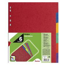 AUCHAN  Lot de 6 intercalaires maxi A4 carte lustrée coloris assortis