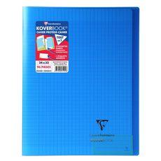 CLAIREFONTAINE Cahier piqué polypro Koverbook 24x32cm 96 pages grands carreaux Seyes bleu transparent