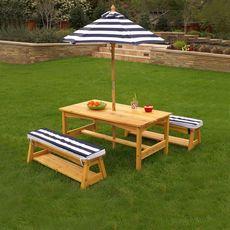 Table et bancs de jardin avec coussins et parasol - Marine