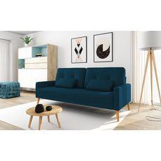Canapé 3 places scandinave convertible NOVA, assise tissu pieds en bois (Bleu pétrole)