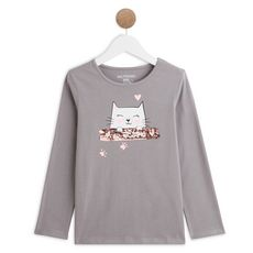 IN EXTENSO T-shirt manches longues chat fille