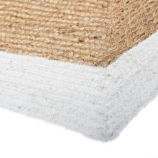 ATMOSPHERA Tapis rectangle bord blanc en Jute coton (Blanc / Beige)
