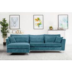 Canapé d'angle gauche 5 places ISA tissu velours, confort moelleux