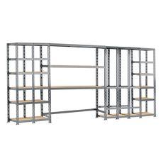 Concept rangement de garage MODULÖ STORAGE SYSTEME EXTENSION 5 étagères 21 plateaux longueur 405 cm