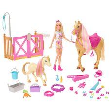 MATTEL Barbie - Coffret toilettage des chevaux + 1 poupée
