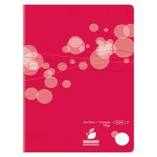 AUCHAN Cahier piqué polypro 24x32cm 96 pages grands carreaux Seyes rouge motif ronds