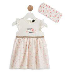 IN EXTENSO Ensemble de naissance robe + bandeau  bébé fille