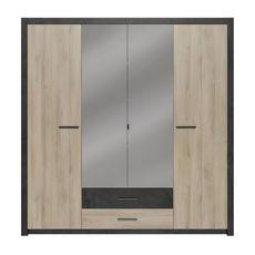 Armoire 4 portes 2 tiroirs L198 x P56,6 x H203 cm KANSAS (Chêne/noir)
