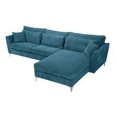 Canapé d'angle droit 5 places ISA tissu velours, confort moelleux (bleu)