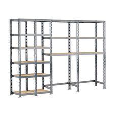 Concept rangement de garage MODULÖ STORAGE SYSTEME EXTENSION 4 étagères 18 plateaux longueur 240 cm