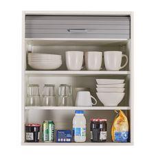 Rangement de cuisine à rideau coloris blanc L60 cm - COOKING