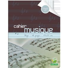 AUCHAN Cahier de musique piqué 17x22cm 48 pages grands carreaux Seyes
