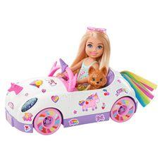 MATTEL Poupée Barbie Chelsea et sa décapotable licorne