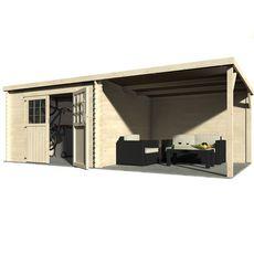 Abri jardin bois EDEN / toit plat avec auvent / 15.77m² / 28mm