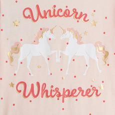 IN EXTENSO Robe bi matière licornes fille (Rose)