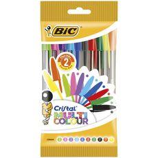 BIC Stylos-bille pointe large couleurs assorties CRISTAL MULTICOLOUR (lot de 10)