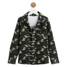 IN EXTENSO Ensemble chemise camouflage + t-shirt manches longues garçon (Vert kaki)