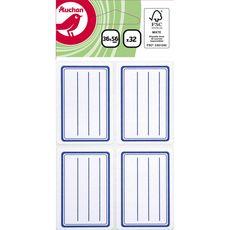 AUCHAN  Lot de 32 étiquettes scolaires adhésives 36x56mm lignées bleues