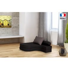 Chauffeuse banquette lit d'angle 1 place OSTO (Anthracite / Taupe)