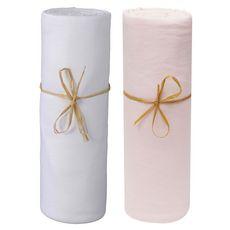 PTIT BASILE Lot x2 draps housse jersey lit berceau cododo, nacelle en coton Bio 50 x 80 cm (Blanc/Rose poudré)