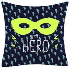 ACTUEL Coussin déco imprimé masque SUPER HERO fluorescent en coton (Bleu)