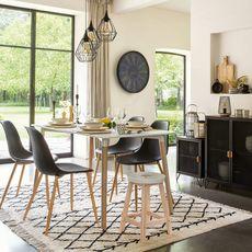 ATMOSPHERA Lot de 4 chaises de séjour salle à manger  MAHAUT (Noir)