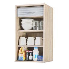 Rangement de cuisine à rideau coloris chêne L40 cm - COOKING (chêne/alu)