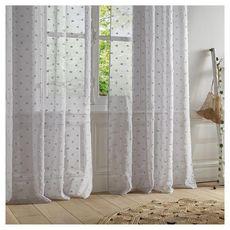 ATMOSPHERA Rideau Voilage à oeillets métal en polyester motifs plumetis 140x240cm LILY