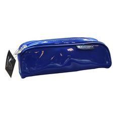 Trousse rectangulaire Vinyl 1 compartiment bleu