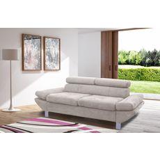 Canapé fixe 2 ou 3 places VERONA, tissu toucher doux, tétière et accoudoir réglables (Ivoire)