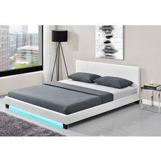 Lit LED avec tête de lit et sommier à lattes 160x200 cm MARTIN (Blanc)