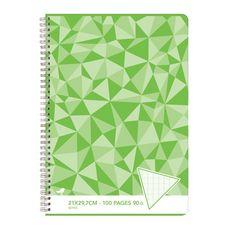 AUCHAN Cahier 21x29,7cm 100 pages grands carreaux Seyes à spirale vert motif triangles