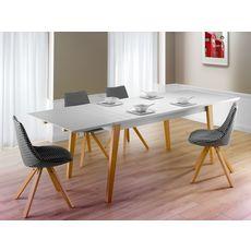 Table extensible L250cm PRETTY, style scandinave (Blanc)