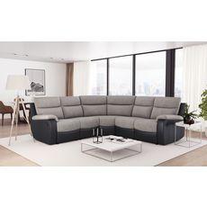 Canapé d'angle 6 places relax manuel simili / Tissu HELENE