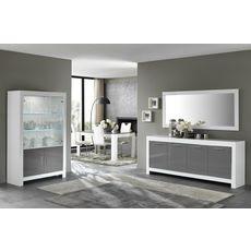 Miroir de séjour salle à manger design laqué brillant L140cm MILANO (Blanc)
