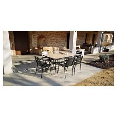 Givex Salon repas de jardin 6 personnes 160x90cm ZELIE