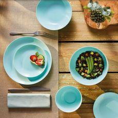 LUMINARC Service d'assiettes opale 18 pièces DIWALI Turquoise (Turquoise)