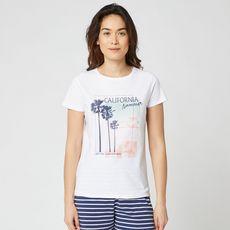 IN EXTENSO T-shirt manches courtes blanc imprimé california summer femme (Blanc)