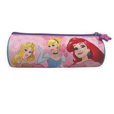 Trousse ronde Héroïnes rose Aurore, Cendrillon et Ariel