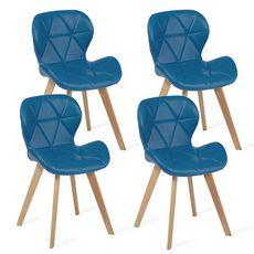 Lot de 4 chaises assise PU pieds bois massif NICKY (Bleu)